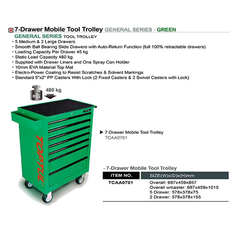 جعبه ابزار 7 کشو چرخ دار (سبز) تاپ تول TOPTUL مدل TCAA0701