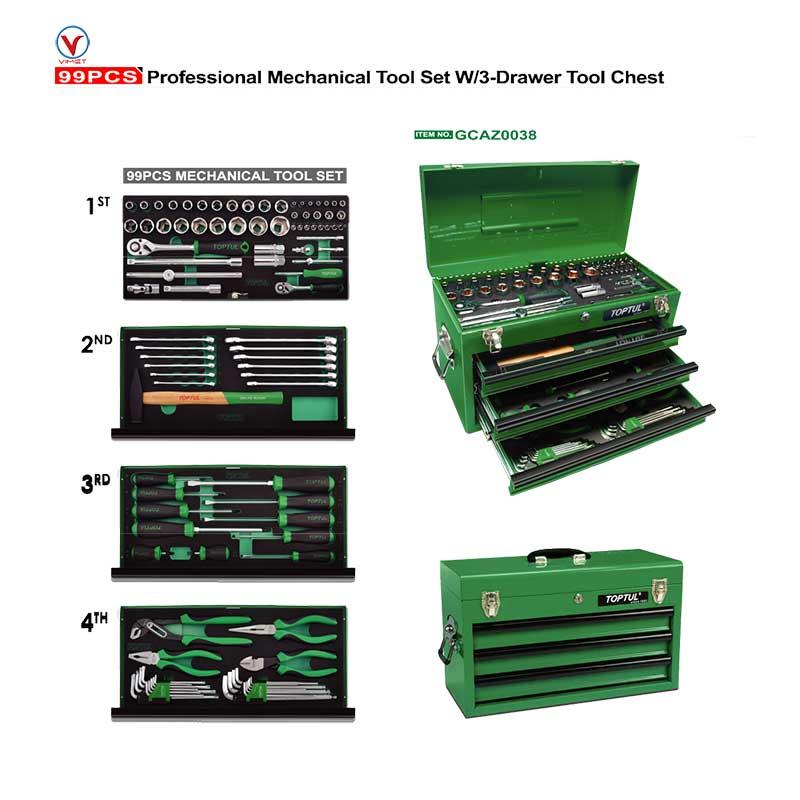 جعبه ابزار 99 پارچه آهنی سبز تاپ تول TOPTUL مدل GCAZ0038 |